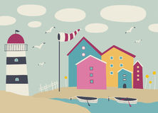 Landscape with boats, lighthouse and beach huts. royalty free illustration