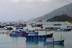 Landscape with boats and mountian in Khanh Hoa Royalty Free Stock Image