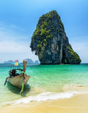 Boats on Phra Nang beach, Thailand Stock Photography
