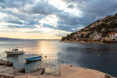 Landscape with boats and sea Royalty Free Stock Images