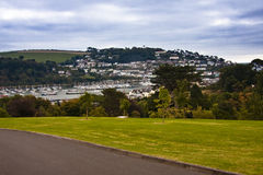 Landscape boats and town. Dartmouth mariner and town from britannia royal naval college Royalty Free Stock Photography