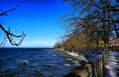 Landscape of Bodensee lake from the town of Lindau Schwarzwald germany royalty free stock photography