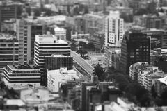 Landscape of Bogotá. View of streets and building of Bogota, Colombia. Edited with miniature effect in black and white Stock Photos