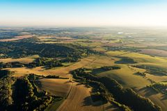 Beautifu czech autumn landscape on aerial photography stock image