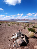 Landscape Bolivia high altitude far away mile stone. Mile stone in landscape of Bolivia with at the background a lake, mountains of the Andes and clouds in a Royalty Free Stock Images