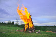 Landscape with bonfire Royalty Free Stock Photo