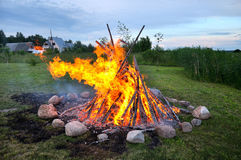 Landscape with bonfire Stock Photo