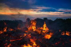 Landscape with bonfire, night and bright hot flame Royalty Free Stock Image
