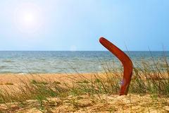 Landscape with boomerang on overgrown sandy beach. Royalty Free Stock Image
