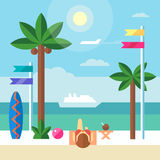 Landscape border with beautiful girl sunbathing at the beach. Vector flat illustration Stock Images