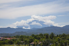 Landscape: Mt Kinabalu, Clouds, Palm Trees Stock Photo
