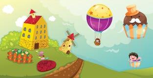 Landscape boy and girl riding hot air balloon. Illustration of landscape boy and girl riding hot air balloon Royalty Free Stock Image