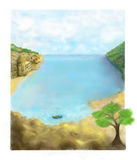 Landscape with the boy looking in the sky. The boy lies on a stone by the sea. Vertical illustration Stock Photo