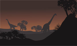 Landscape brachiosaurus at night Royalty Free Stock Photos