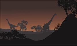 Landscape brachiosaurus at night Royalty Free Stock Photos