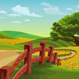 Landscape of bridge with colorful flowers Royalty Free Stock Photography