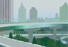 Landscape with bridge in modern  city Royalty Free Stock Photography