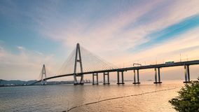 Landscape of the bridge over the sea at dusk stock video footage