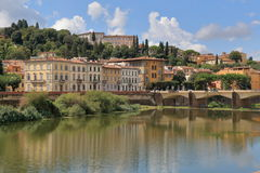 Landscape, bridge Ponte alle Grazie in Florence, Italy Stock Images