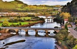 Landscape and bridge in San Vicente de la Barquera city Spain Royalty Free Stock Photos
