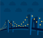 Landscape-bridge (vector). Bridge at night (vector) with lights and clouds royalty free illustration