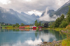 Landscape Briksdalen Norway Stock Photo