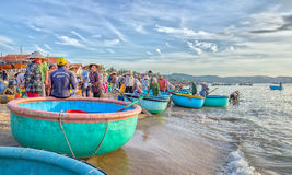 Landscape brisk trade in fish at Mui Ne fishing village Royalty Free Stock Image