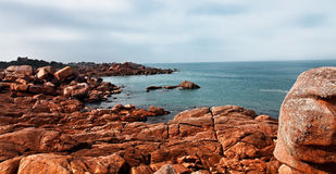 Landscape in Brittany. Rocky landscape on the Pink Granite Coast in Brittany in the northwestern part of France Royalty Free Stock Photography