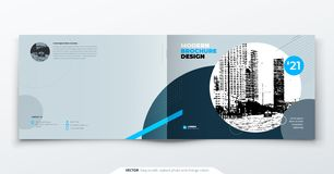 Landscape Brochure design. Blue grey corporate business template brochure, report, catalog, magazine. Brochure layout royalty free illustration