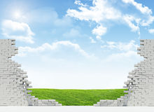 Landscape in broken wall Royalty Free Stock Photography