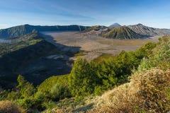 Landscape of Bromo, Batok, and Semeru volcano mountain, East Jav Stock Photos