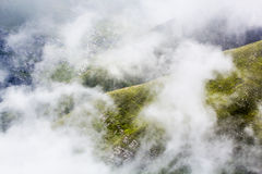 Landscape from Bucegi Mountains, in Romania in a very foggy day Stock Photography