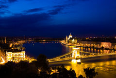A landscape of Budapest in the night Stock Image