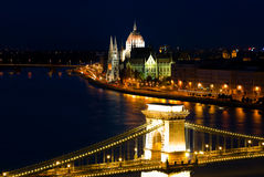 A landscape of Budapest in the night royalty free stock photo