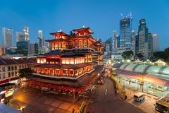 Chinatown Buddha Tooth Relic Temple With Lights stock photography