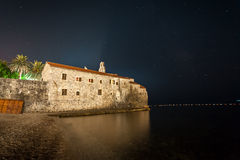 Landscape of Budva fortress at night, Montenegro Royalty Free Stock Photos