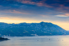 Landscape of Budva riviera in Montenegro. Dramatic morning light. Balkans, Adriatic sea, Europe. Royalty Free Stock Images