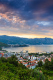 Landscape of Budva riviera in Montenegro at sunrise. Stock Images