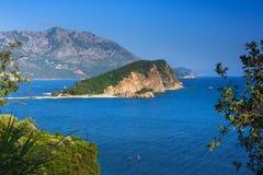 Landscape of Budva riviera: Sveti Nikola island. Montenegro. Royalty Free Stock Image