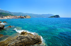 Landscape of Budva town. In Montenegro Royalty Free Stock Image