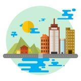 Landscape building, house Flat style  illustration. Urban landscape, big city, building, house concept infographics  flat illustration for your design Royalty Free Illustration