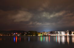 Landscape of building and port beside Geneva lake in Lucerne Switzerland on night Royalty Free Stock Photo