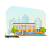 Landscape with buildings restaurant and street of city. Cityscape. Royalty Free Stock Image