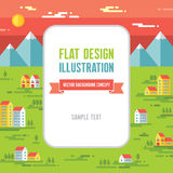 Landscape with buildings - vector background illustration in flat style design. Text frame background. Royalty Free Stock Photos