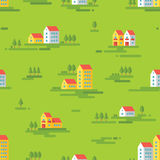 Landscape with buildings - vector background seamless pattern in flat style design. Buildings on green background. Stock Image