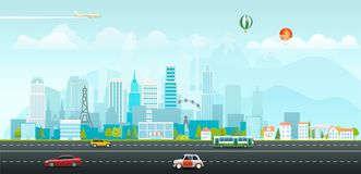 Landscape with buildings and vehicles. Morning city. Life royalty free illustration