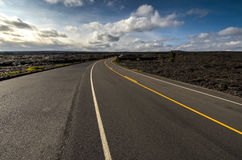 Landscape bushes grass volcanic soil Big Island. Royalty Free Stock Images