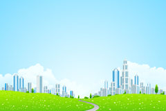 Landscape with Business City Royalty Free Stock Photo