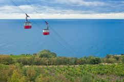 Landscape with a cable-way to the Black Sea Stock Photo