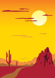 Landscape with cactus. Desert landscape with cactus and mountain Vector Illustration
